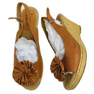 BORN Espadrille Flower Wedge Sandal Tan Leather 10